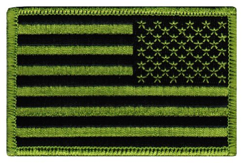 American Flag Embroidered Patch Reverse Green United States