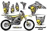 2006 suzuki rmz 450 graphics - AMR Racing Graphics Kit for MX Suzuki RMZ 450 2005-2006 WITH Number Plate CHECKERED SKULL YELLOW SILVER