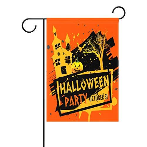 HUVATT Decorative Watecolored Happy Halloween Party Pumpkin Bats Garden Yard Flag Banner for Outside House Flower Pot Double Side Print Polyester Orange 28 x 40 -