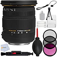 Sigma 17-50mm f/2.8 EX DC OS HSM Zoom Lens for Nikon Cameras with APS-C Sensor - Includes 3PC Filter Kit (UV, CPL, FLD) + Lens Cap Keeper + Lens Cleaning Pen + Dust Blower & More!