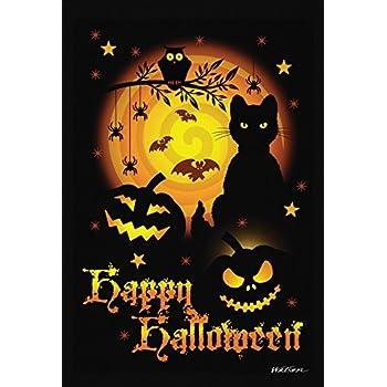 Toland Home Garden Scary Halloween 12.5 X 18 Inch Decorative Spooky Cat  Pumpkin Garden Flag
