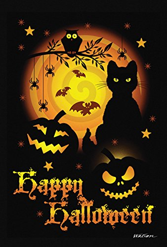 Scary Cats For Halloween (Toland Home Garden Scary Halloween 28 x 40 Inch Decorative Spooky Cat Pumpkin House Flag -)