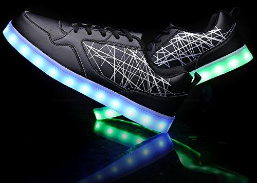 Mohem Shinynight Hög Topp Ledde Skor Lyser Usb-laddning Blinkande Sneakers Black009