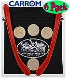 Carrom Nok Hockey Replacement Equipment Set Includes 2 Sticks, 4 Pucks & Bonus ''Matty's Toy Stop'' Storage Bag - 6 Pack