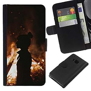 A-type (Fire Silhouette Orange Summer Mid Eve) Colorida Impresión Funda Cuero Monedero Caja Bolsa Cubierta Caja Piel Card Slots Para HTC One M7