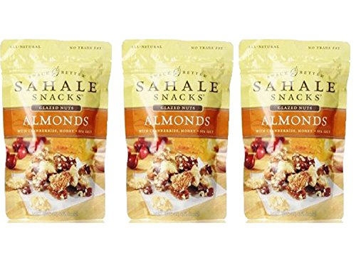 Sahale Snacks All Natural Glazed Nut Blend (4oz x 3 Packs) (Almonds with Cranberries Honey and Sea Salt)
