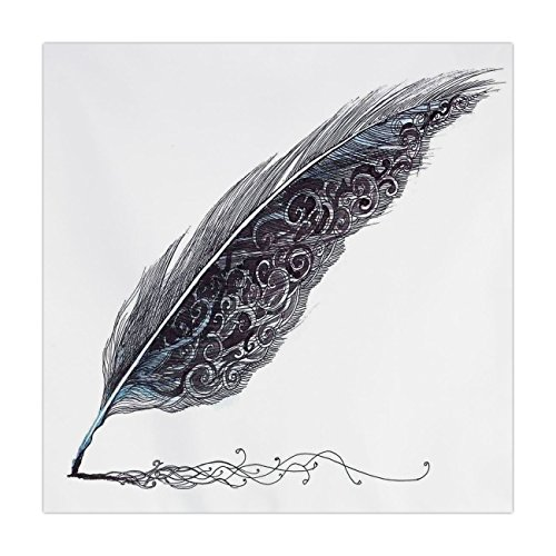 iPrint Satin Square Tablecloth,Feather House Decor,Image of a Dated Classic Quill Pen Feather with Leaf Motifs on One Side,Grey,Dining Room Kitchen Table Cloth Cover (Pen Beaded Daisy)