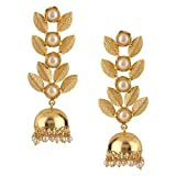 Efulgenz Indian Bollywood 14K Gold Plated Crystal Kundan Pearl Leaf Style Jhumka Jhumki Earrings Jewelry Set
