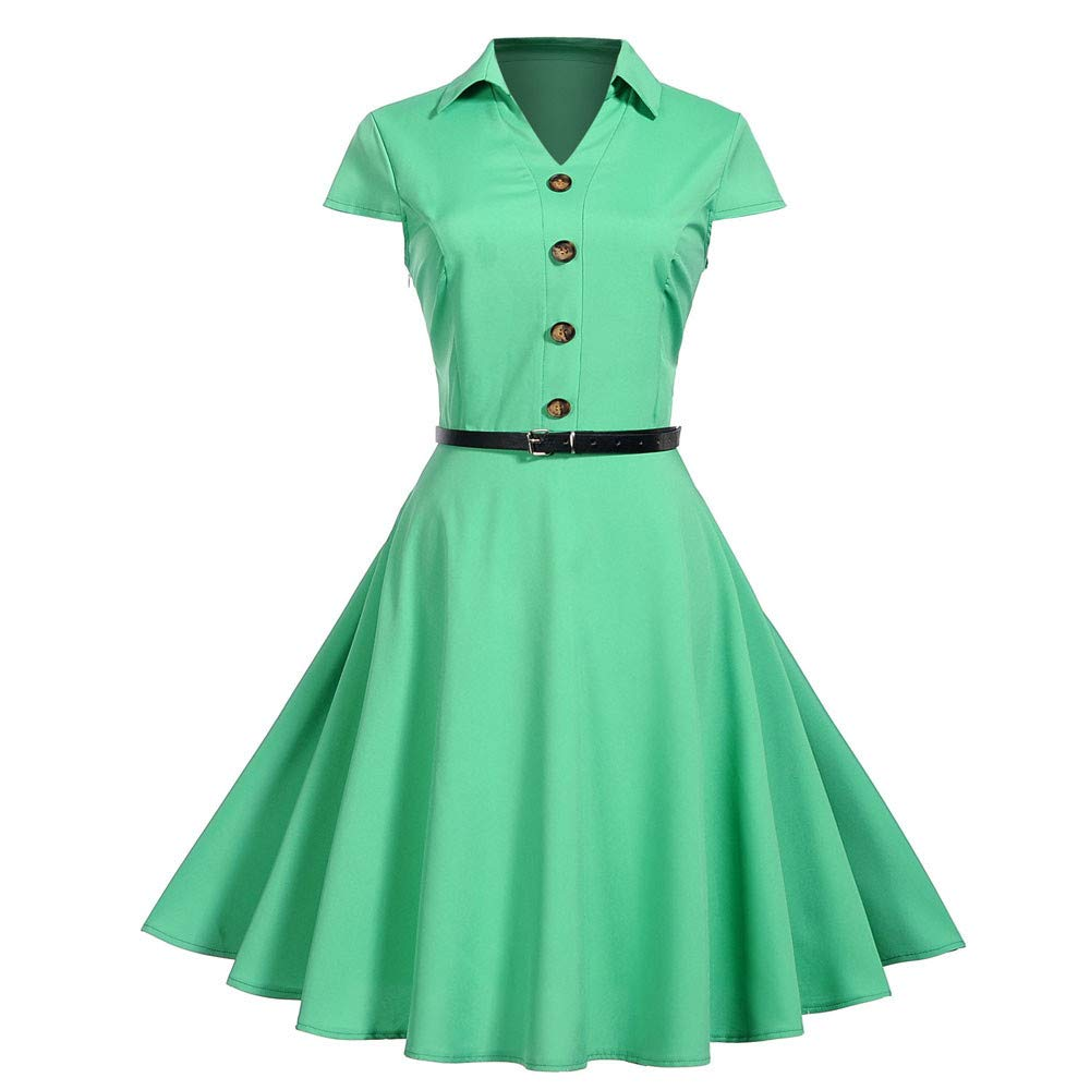 Vibola Women Dress Clearance Vintage Turn-Down Collar Swing Dress Short Sleeve Pleated Party Dress with Belt (S, Green)
