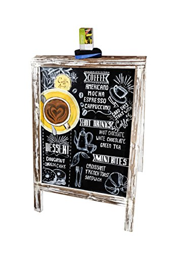 VINTAGE CHALKBOARD with CHALKS and ERASER / Standing Wooden Rustic FRAME for your Restaurant, Wedding and Event. BLACKBOARD SANDWICH BOARD Advertising Sign for Sidewalk