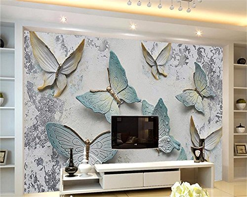 Mbwlkj Customize Photo Wallpaper Nostalgic Cement Wall Butterfly Reliefs Decorative Mural Papel De Parede 3D Wallpaper Tapety Beibehang-150Cmx100Cm