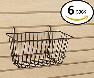 Pegboard or Gridwall Renewed Metal Semi-Gloss Basket Black Black Multi-Fit Narrow Wire Basket for Slatwall Set of 6 Econoco