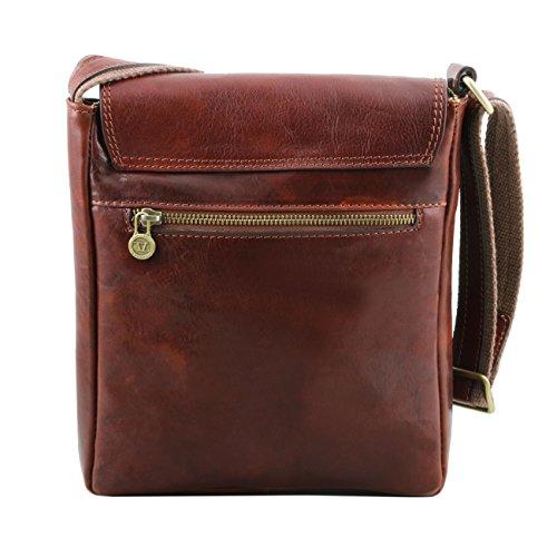 Tuscany Leather Jimmy - Bolso para hombre en piel con bolsillo delantero Marrón oscuro Bolsos en piel Miel