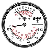 Winters TTD Series Steel Dual Scale Tridicator Thermometer with 2'' Stem, 0-75psi/kpa, 2-1/2'' Dial Display, ±3-2-3% Accuracy, 1/4'' NPT Extension Back, 70-320 Deg F/C