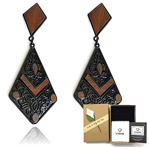 (Statement Earrings for Women Wood Bohemian Lightweight Dangle Fashion Cute)