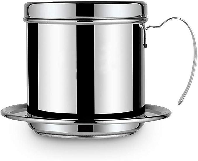HelloCreate filtro de cafetera vietnamita, cafetera olla taza de acero inoxidable fabricante de filtro de goteo de café infusor de phin cafetera de goteo para oficina, hogar, restaurante, cafetería: Amazon.es: Hogar