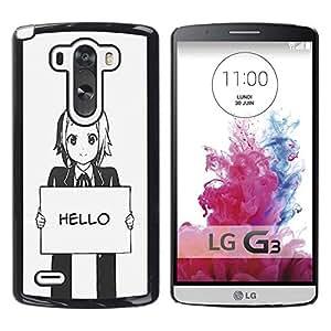 Be Good Phone Accessory // Dura Cáscara cubierta Protectora Caso Carcasa Funda de Protección para LG G3 D855 D850 D851 // Hello Grey Anime Japanese Cartoon Message