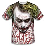 Dark Knight Trilogy - Men's T-Shirt Joker face design , Small, White