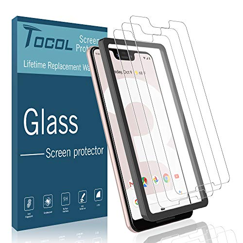 [3Pack] TOCOL Screen Protector for Google Pixel 3 XL, [Alignment Frame Easy Installation] DoubleDefence Technology [Case Friendly] Tempered Glass with Lifetime Replacement Warranty (Best Tempered Glass Screen Protector Google Pixel Xl)