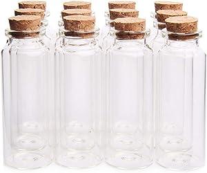 "Danmu 12Pcs 40ml 1.18"" x 3.14"" Mini Glass Bottles, Mini Bottles, Mini Vials, Jars with Wood Cork Stoppers, Tiny Vials, Wish Bottles, Message Bottles for Wedding Favors, Halloween Decorations, Baby Shower Favors, DIY Craft"