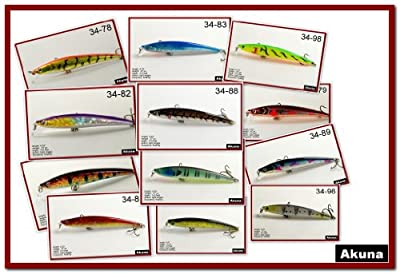 Lot Of 12 43 Hand Painted Holographic Bass Pike Minnow Fishing Lures by Akuna