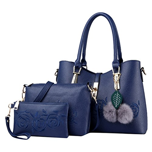 Zipper Durable Bags PCS Blue Shoulder Handbag 3 Embroidered Sets Solid ZhiYuanAN Women Fashion Color cqAw47Wn6v