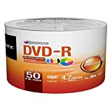 SONY DVD-R4.7GB/120MIN 16X White Hub Inkjet Printable, No Stacking Ring Surface 50pcs Bulk Colour Wrap
