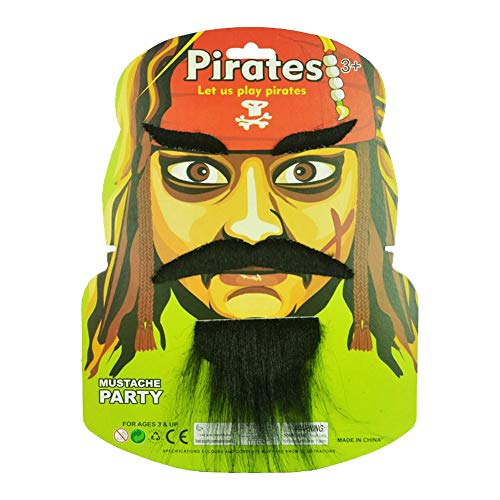 SpringPear Pirate Fake Mustache + Eyebrow False Beard for Adult Teens Children Halloween Carnival Decoration Party Favours]()
