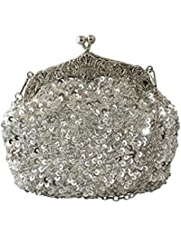Fully Sequined Mesh Beaded Antique Style Wedding Evening Formal Cocktail Clutch Purse