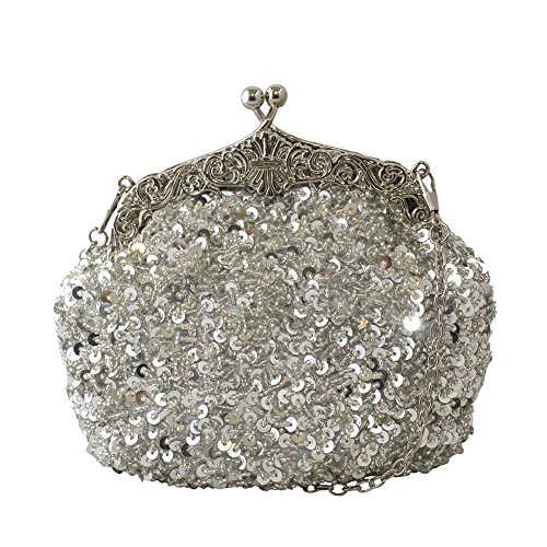 ined Mesh Beaded Antique Style Formal Cocktail Clutch - Silver (Silver Evening Handbag)