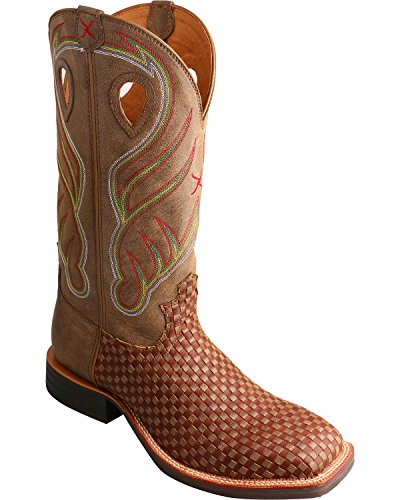 Twisted X Men's Basketweave Ruff Stock Cowboy Boot Square Toe Brown 9.5 D(M) US