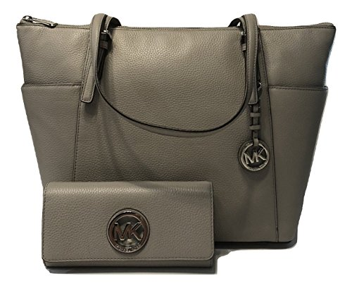 MICHAEL Michael Kors Large East West TZ Tote bundled with Michael Kors Fulton Flap Continental Wallet (Pearl Grey) by Michael Kors