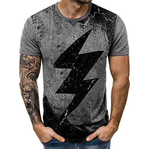 Winsummer Men's Lightning T-Shirt Hipster Hip-Hop Tees Fashion Graphic Tshirt Vintage Tops Gray (Sale Vintage T-shirt)