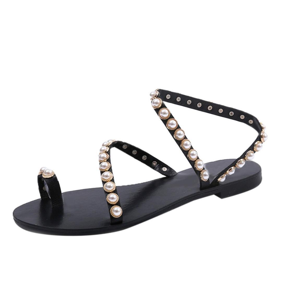 Sunbona Women Bead Flat Sandals Summer Casual Ankle Wrap Flip Flops Sandal Slipper (US:6.5(RU/EU/CN37), Black)