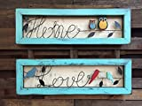 SIGN Owl HOME LOVE Birds Reclaimed Framed Wood Shadowbox Distressed Unique Bird Owls Metal Wall Art Horizontal Country Rustic Gift *Hang in Bathroom, nursery, entryway, living room, and more! For Sale