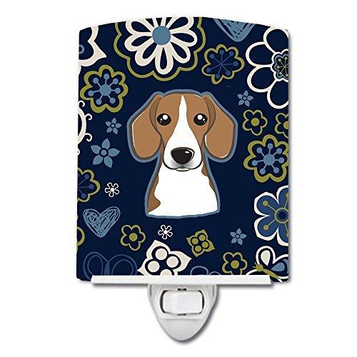 Caroline's Treasures Blue Flowers Beagle Ceramic Night Light, 6 x 4