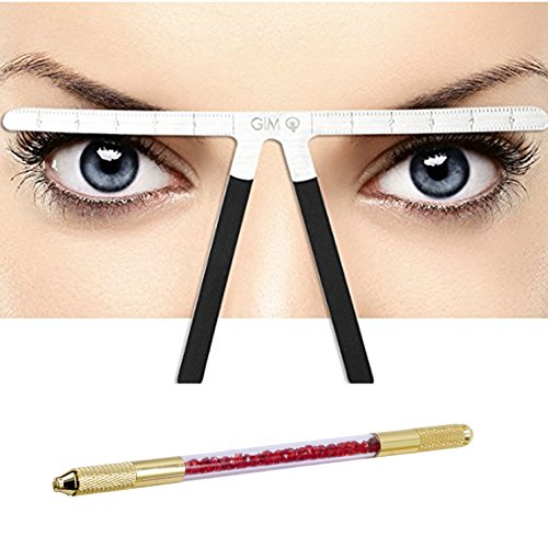T&B Eyebrow Ruler Reusable Three-Point Balance Positioning Kit With Two Sided Manual Tattoo Eyebrow Microblading Pen(Red and Gold)