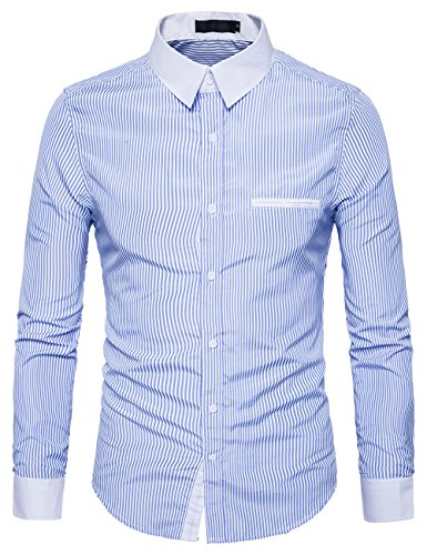 XI PENG Men's Casual Business Contrast Long Sleeve Fitted Button Down Dress Shirts (X-Large, Blue White - Contrast Collar Shirt Dress
