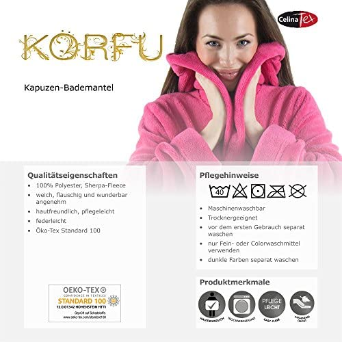 CelinaTex Korfu Accappatoio con Cappuccio A Tinta Unita Corto Tasche Laterali Donna Pile di Sherpa XS-XXXL
