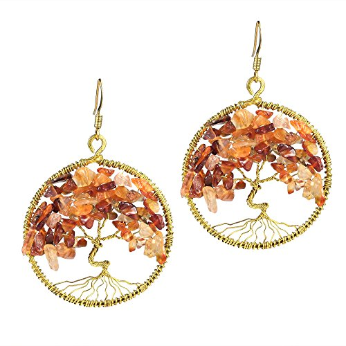 Eternal Tree of Life Orange Carnelian Stone Branch Brass Dangle Earrings