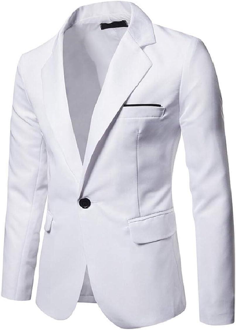 XQS Mens Suit Jacket 1 Button Slim Sport Coat Business Daily Blazer