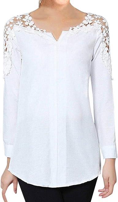 Luckycat Camisa Elegante de Mujer con Bordado Encaje Blusa Manga Larga Pullover Ligero V Cuello para Primavera Verano Otoño: Amazon.es: Ropa y accesorios