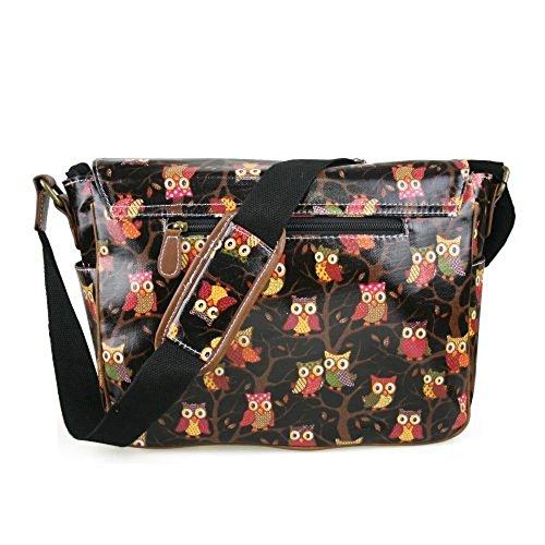 Cross body Oilcloth Bag Satchel Designer Messenger Pattern Owl Black Stylla 4YqwXvP