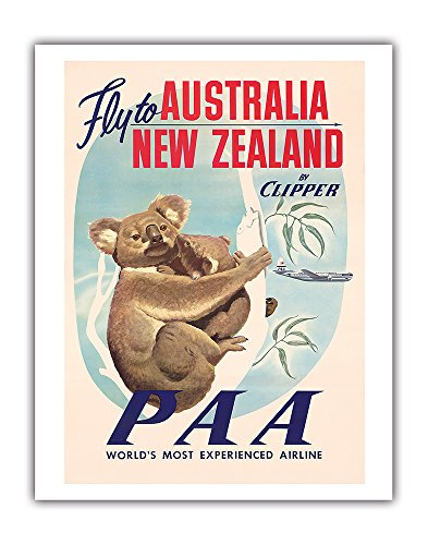 (Australia, New Zealand - Pan American Airways (PAA) - Fly to Australia, New Zealand by Clipper - Koala Bears PAN AM - Vintage Airline Travel Poster c.1950s - Fine Art Print - 11in x 14in )