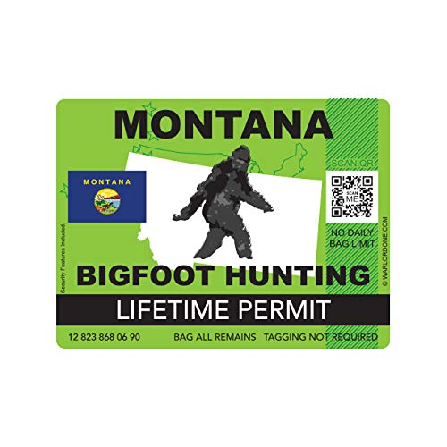 fagraphix Montana Bigfoot Hunting Permit Sticker Die Cut Decal Sasquatch Lifetime FA Vinyl - 4.00 Wide