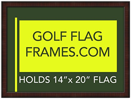17x23 Golf Flag Frame; Mahogany Color Frame 7352, Green Mat (holds 14x20 PGA, Ryder Cup, US Open Golf Flags; flag not incl)