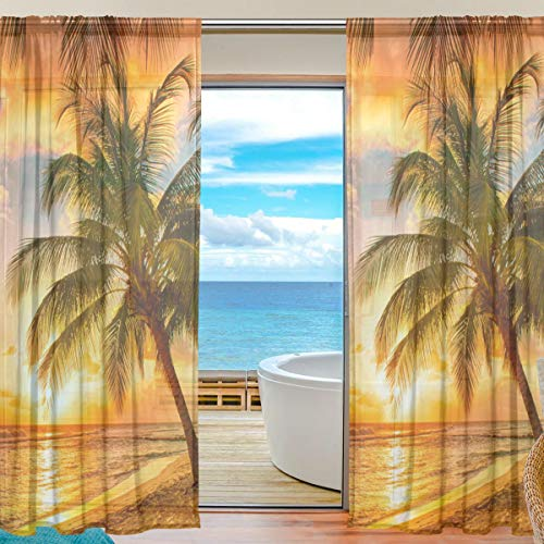 LONK Sheer Curtains Voile Tulle 55 W x 84 L Inches,2 Panels Sunset Beach Tropical Palm Tree for Bedroom