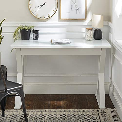 Home Accent Furnishings 48 Inch White Glass Metal and Wood X Framed Desk