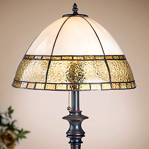 J Devlin Lam 592-4 Large Curved Glass Table Lamp Shades of Pale Amber and (Ivory Stained Glass Table Lamp)