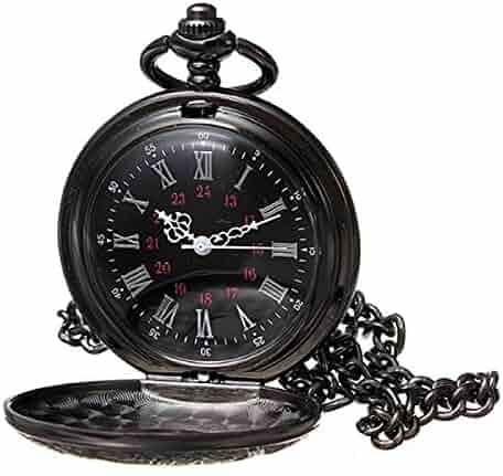 MJSCPHBJK Black Pocket Watch Roman Pattern Steampunk Retro Vintage Quartz Roman Numerals Pocket Watch (Black1)